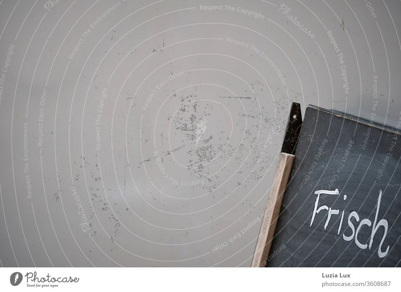 Fresh - an incipient writing down on a blackboard leaning against a dirty wall Blackboard Chalk Wall (building) Scratch mark Old Gray unfinished Colour photo
