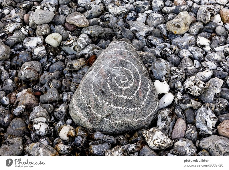 Stones on the beach Beach Spiral Deserted Nature Close-up Day Gray White Colour photo Pebble Central Coast Rock Landscape Calm Exterior shot