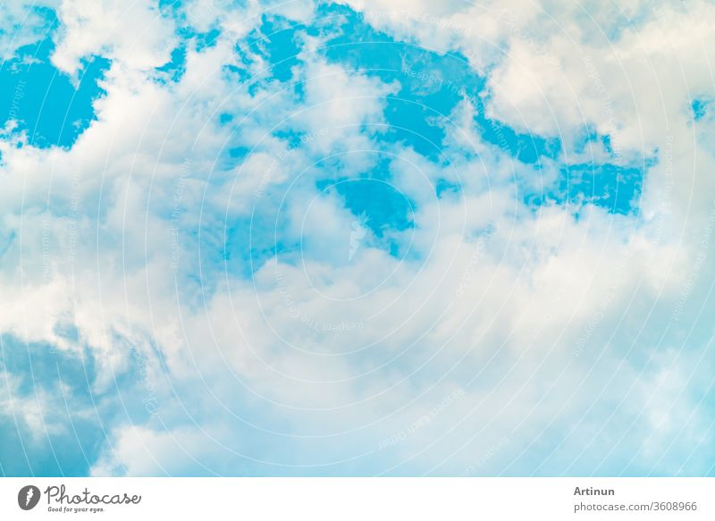 Beautiful blue sky and white cumulus clouds abstract background. Cloudscape background. Blue sky and white clouds on sunny day. Nature weather. Bright day sky for happy day background.