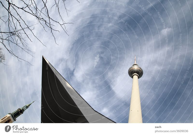 Television tower and tower of the Marienkirche in Berlin Downtown Berlin Capital city Berlin TV Tower Landmark Alexanderplatz Tourist Attraction Architecture