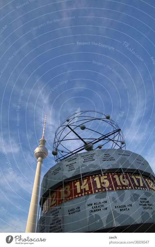 World time clock and television tower in Berlin at Alexanderplatz Town Copy Space top Tall Downtown Downtown Berlin Worm's-eye view Exterior shot Sky Blue