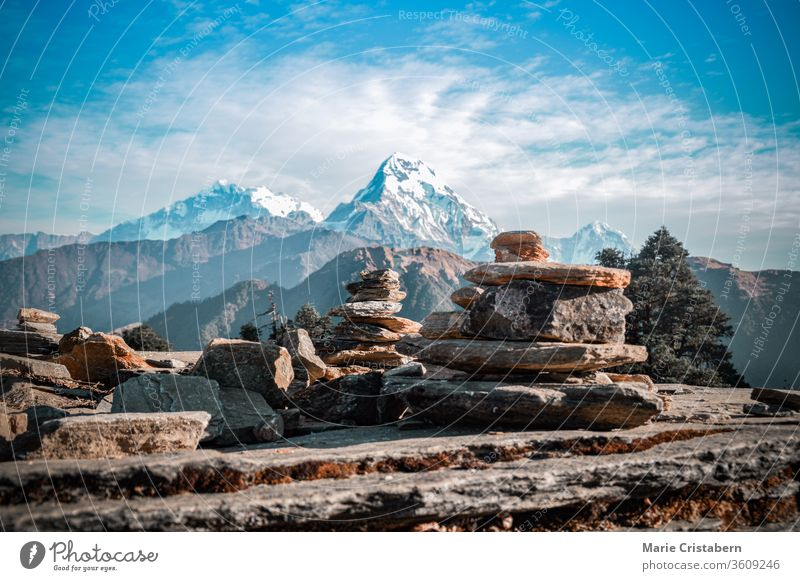 Cairn rock formation along the trail to Annapurna Base Camp in Ghorepani Poon hill in Nepal trek to annapurna annapurna base camp travel destination nepal