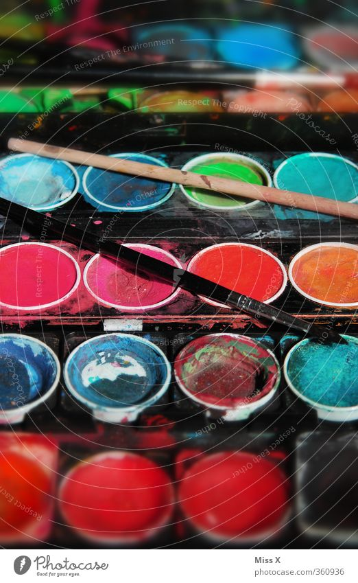 Colour Dye Playing Art Infancy Leisure and hobbies Painting (action, artwork) Creativity Paintbrush Handicraft Play of colours Watercolors Painting equipment