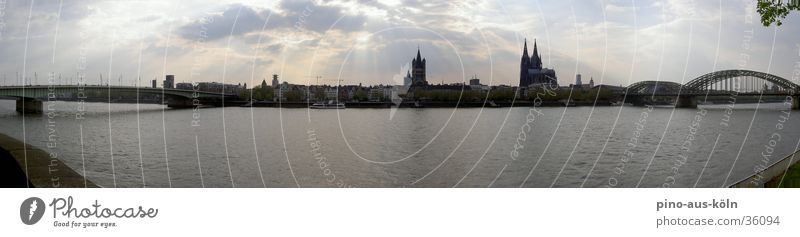 Cologne Panorama Panorama (View) Architecture Rhine Bridge Old town Large