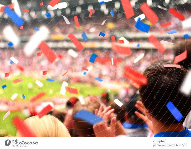 Fans in the stadium Joy Applause World Cup Confetti Fantastic Moody Emotions Youth (Young adults) Young man Human being Stadium soccer Sporting Complex