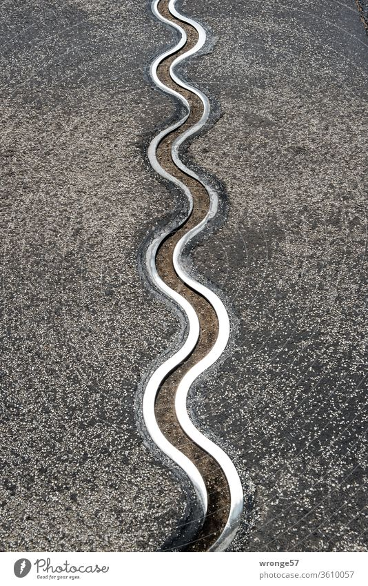 Expansion joint of a bridge | Two iron snakes snaking along the village road Iron band Metal Steel wavy flexed Glittering steel Bridge Street expansion joint