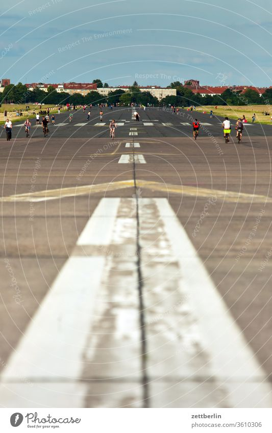 Taxiway from Tempelhof / Tempelhofer Feld airport Berlin Far-off places Trajectory Airport Airfield Freedom spring Sky Horizon Deserted taxiway Flock Skyline