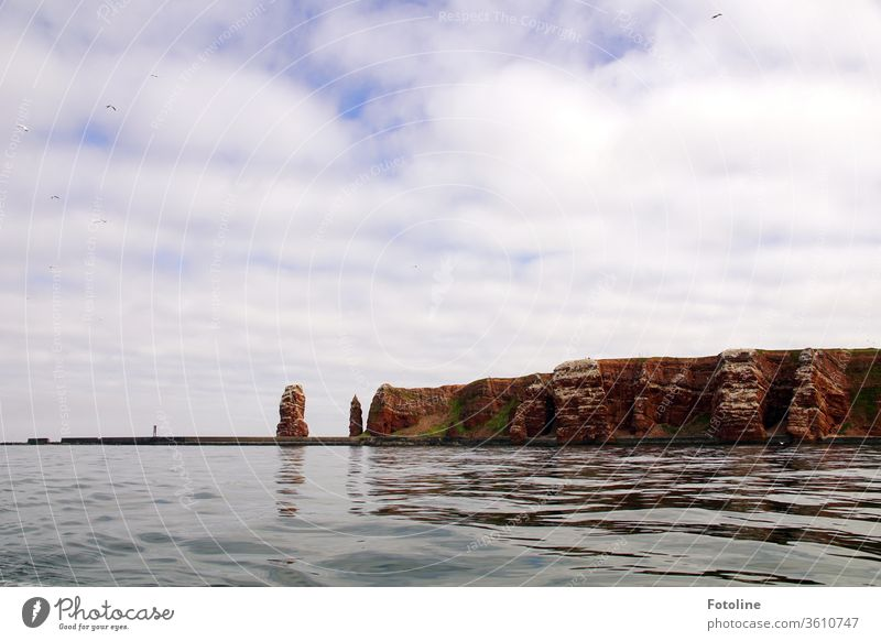 Helgoland ahead! - or The landmark of Helgoland, the long Anna, and the bird rock photographed from the sea. North Sea Exterior shot Colour photo Deserted
