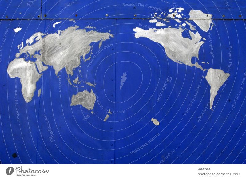 Worldwide Map Map of the World Earth Blue Abstract Idea Creativity Catograph concept Climate Environmental protection world Global Planet Continents