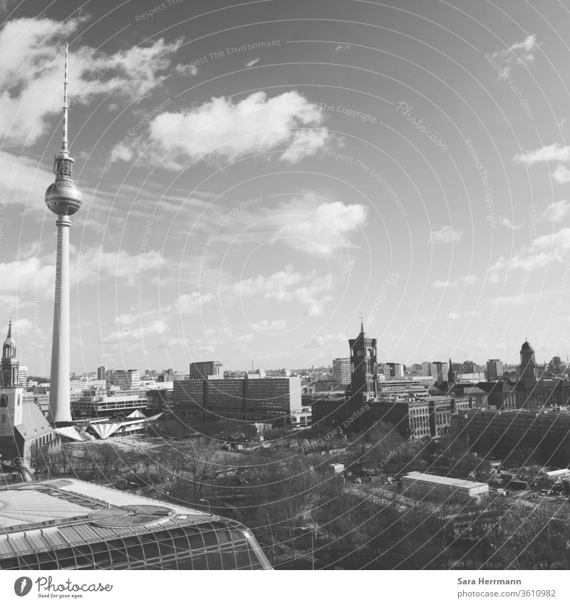 Berlin from above Berlin TV Tower Berlin Cathedral Culture Sky Clouds Landmark