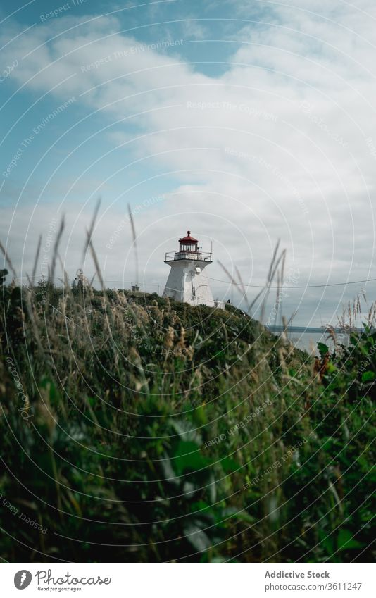 Lighthouse on green cliff near sea lighthouse shore sky cloudy travel landscape peggys cove canada famous nature scenic destination building weather navigate