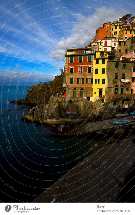 the village of riomaggiore in the north of italy,l Sky Nature Blue Green White Ocean Red Clouds Leaf House (Residential Structure) Black Yellow Mountain Coast