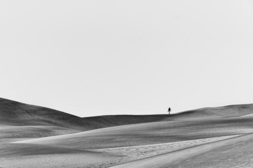 The walker in the sand Landscape Nature Exterior shot Vacation & Travel Deserted Day Loneliness Adventure travel Sky sand hill sand dune Sunlight Dune