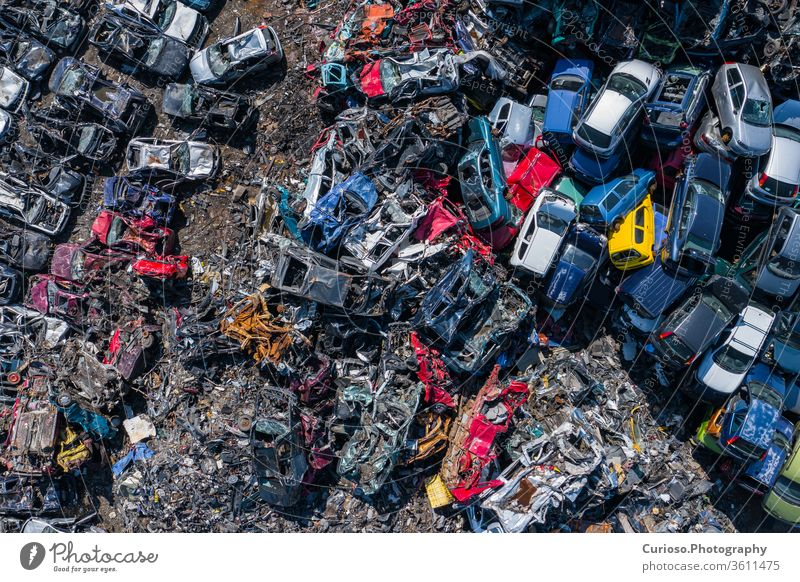 Scrapyard Aerial View. Old rusty corroded cars in car junkyard. Car recycling industry from above. used car recycling vehicles drone aerial parts junk yard