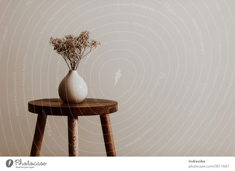 White ceramic vase on a natural brown wooden stool with white dried flowers in an empty room interior decoration design isolated home object old wall nobody