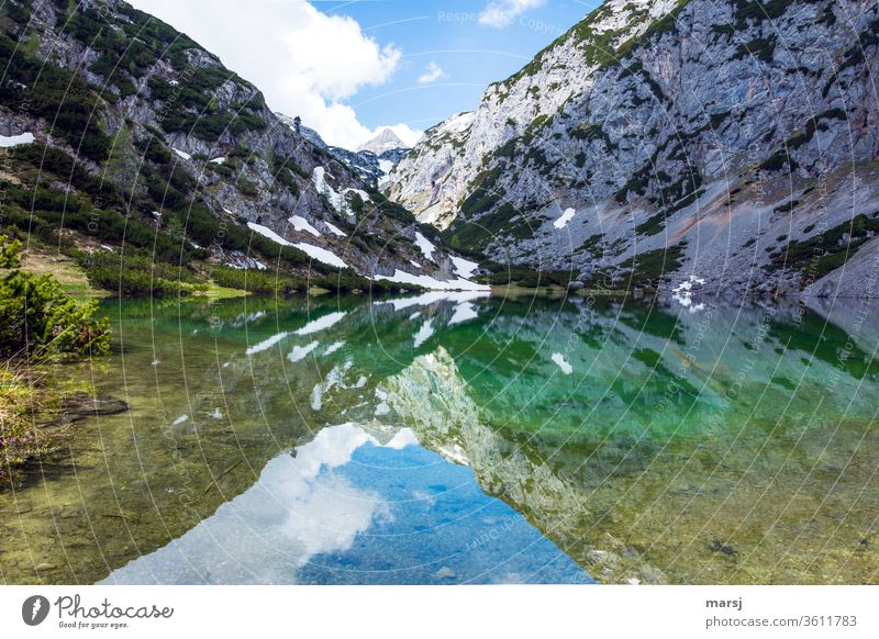 Reflection in the Höllsee mountain lake Body of water silent tranquillity Lake Nature Landscape Adventure Trip Tourism Vacation & Travel Meditation Calm