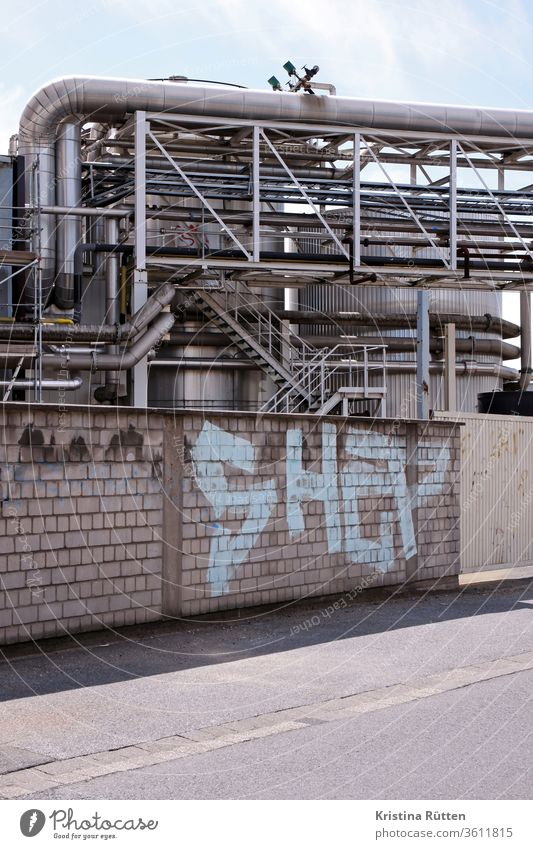 graffiti wall and factory Industry Factory tanks Silos reeds Pipelines pipes Cables plant Wall (barrier) Graffiti Day Container Steel staircases Scaffolding