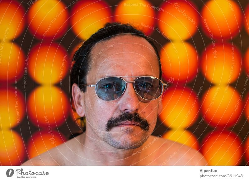 Porn bars 70s Retro Seventies Pattern Wallpaper Man Manly Macho Masculine Porn star Colour photo Sunglasses Decoration Moustache porn bars Structures and shapes