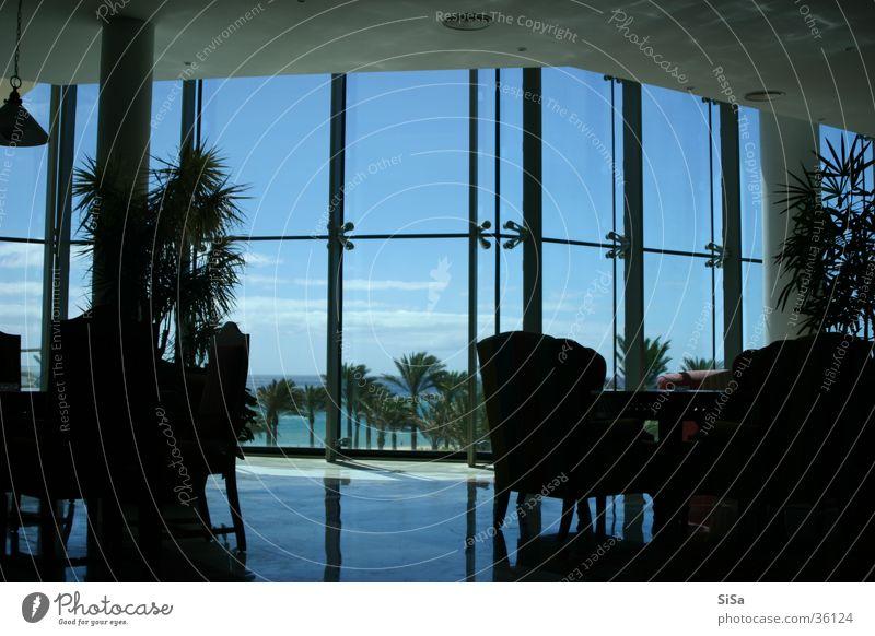 lounge Window Vantage point Reflection Hotel Architecture Blue