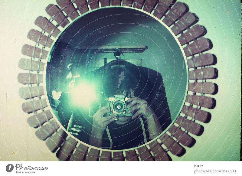 Old trick... Mirror Photography Camera Take a photo Photographer taking a photograph Woman Man Leisure and hobbies Adults Human being Flash photo Light