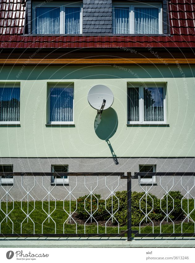 Satellite dish on house wall Satellite Dish House (Residential Structure) Architecture built Window Facade Deserted Exterior shot Wall (building) Wall (barrier)