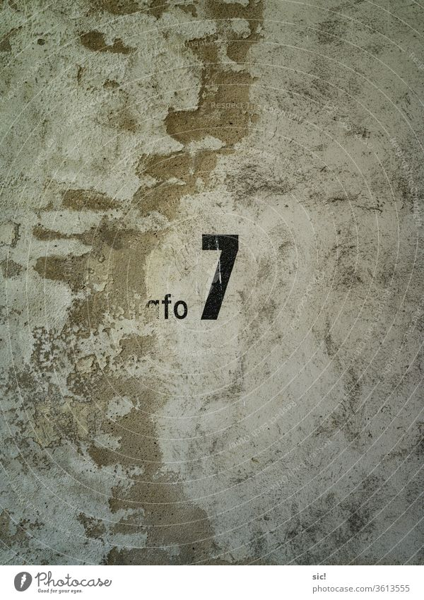 Wall with the number seven Wall (building) sieving Wall (barrier) Colour photo figures Yellow Black