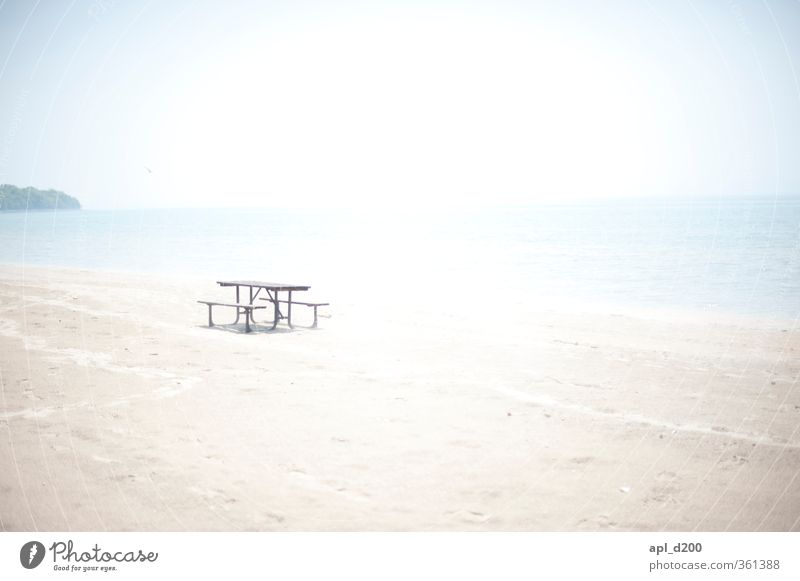 Vacation & Travel Summer Blue White Sun Ocean Calm Beach Tourism Freedom Brown Gray Trip Bright Sit Table