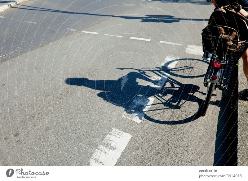 Bicycle at the traffic lights Wheel cyclists Traffic light cycle path Stand Wait Turn off Asphalt Highway Corner Road traffic Transport Lane markings Cycle path