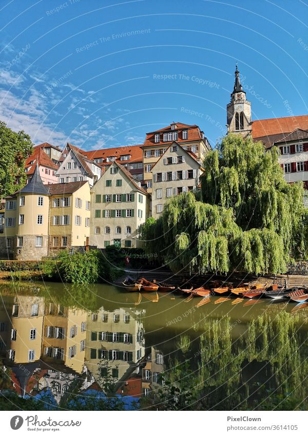 Old town of Tübingen Colour photo Architecture built Light punt Neckar Baden-Wuerttemberg River Sky Clouds Summer Mirror image Tourism travel