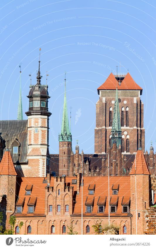 Gdansk City Historic Architecture In The Old Town gdansk danzig poland europe building structure architecture old historic landmark unesco travel exterior