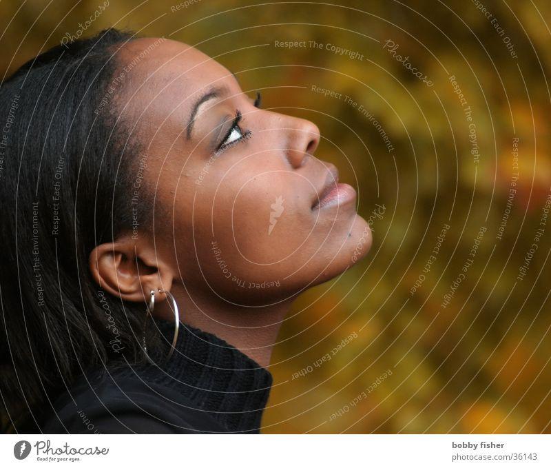 view 2 Woman Think Close-up Portrait photograph Ask Beautiful Autumn Dark Romance Longing Looking Human being Eyes Skin Fashion
