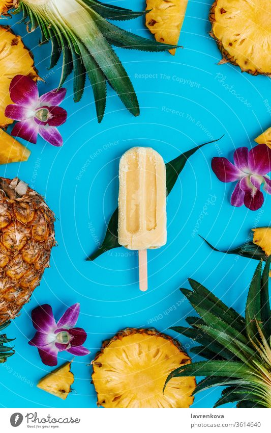 Tropical flatlay with vegan popsicle with various fruits and flowers around on blue diet healthy flat lay ice cream cut orchid popsicles pineapple holiday green