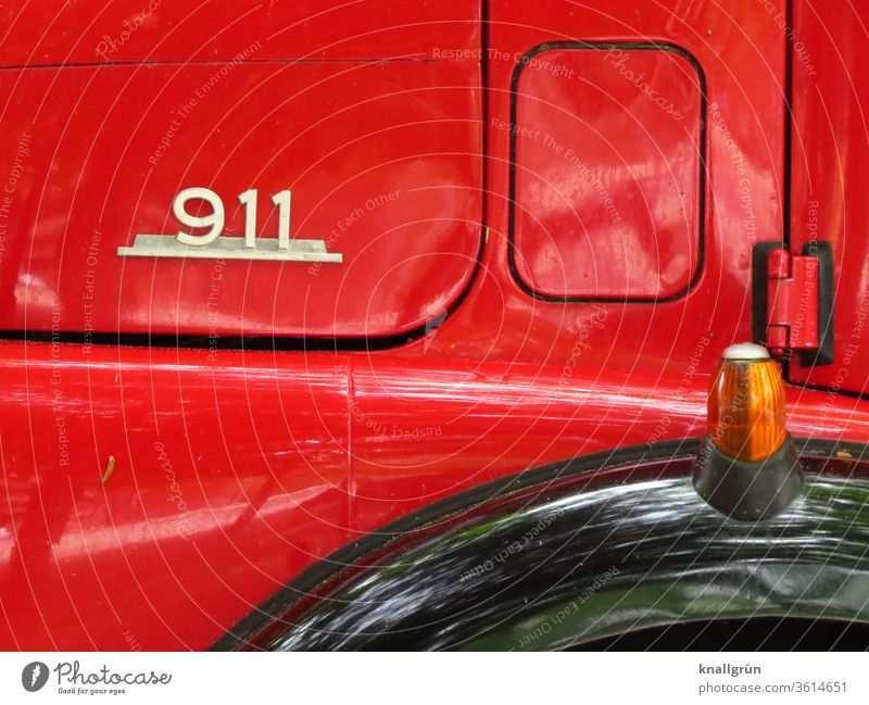 Close-up Mercedes Benz 911 fire engine Vintage car Fire engine Red Vehicle Detail Retro Car Old Nostalgia Design Chrome Day Exterior shot Deserted