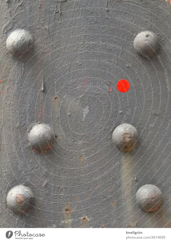 Detail of a steel beam with six rivets and a red dot Steel carrier Point Abstract Stud Metal Round Gray Red signal red frowzy Dirty Pattern