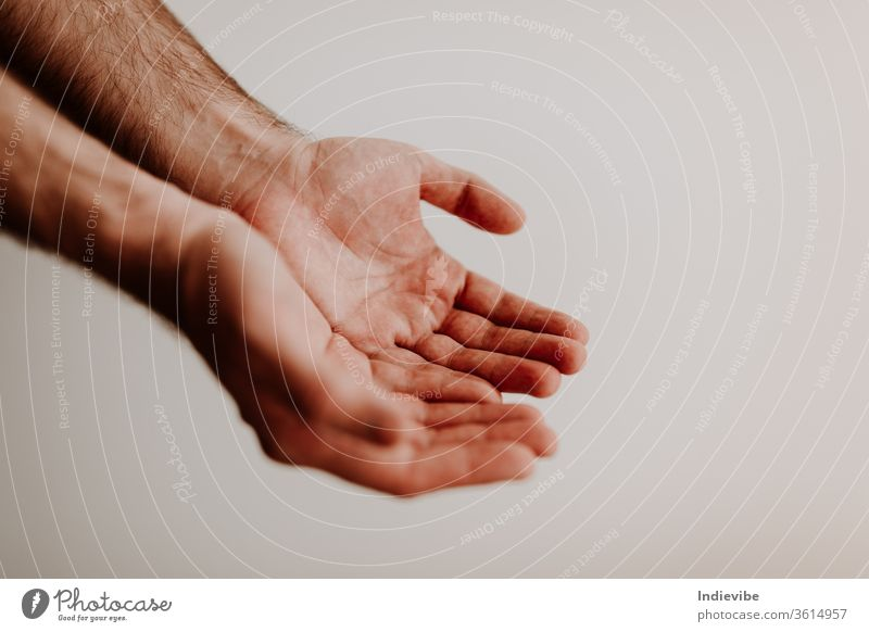 Two clean hands are begging for something with visible palm isolated human child people white friendship care finger two closeup shake person hold support faith