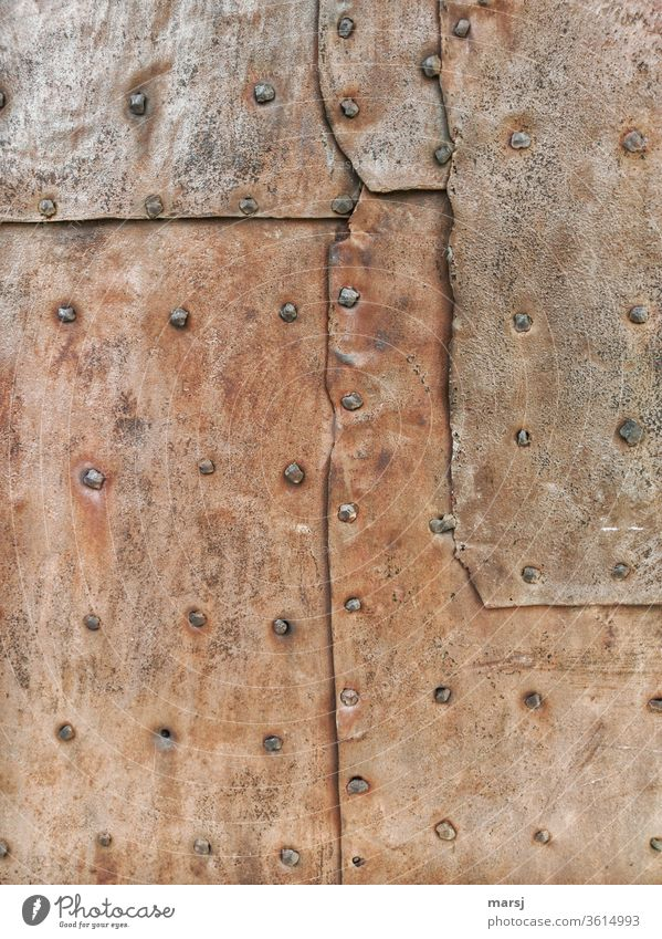 Old | Patchwork with hand riveted rusty sheet Stud Iron Rust rusty metal Tin patchwork overlap Protection Wallpapers Patina Oxydation Metal Transience Brown