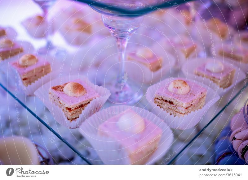 Candy bar on wedding ceremony with a lot of different cupcakes, modern desserts, mousses and jellies. selective focus desert plate celebration sweets cream