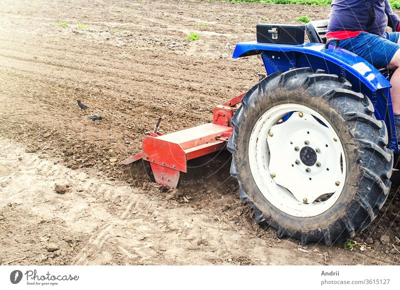Tractor with milling machine loosens, grinds and mixes soil. Cultivation technology equipment. Loosening the surface, cultivating the land for further planting. Farming and agriculture.