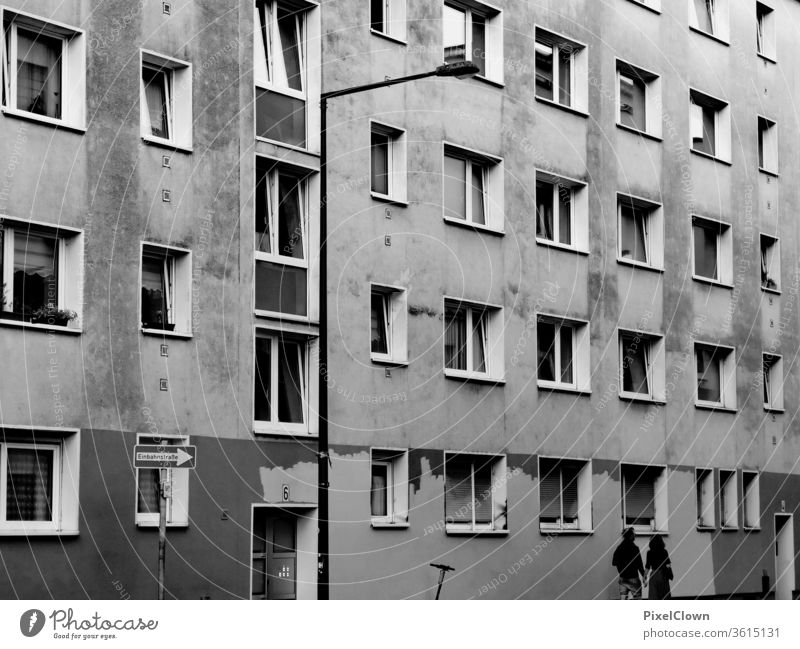 hovel block of flats Town Gloomy Architecture Manmade structures Facade Window Gray urban dwell City