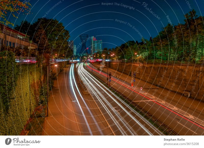 Munich, bavaria, at night. The popular german city as long exposure photography with light trails of driving cars and famous architecture at the cities Effnerplatz.