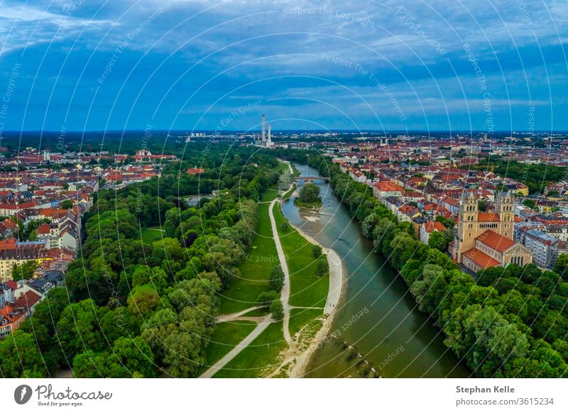 View over Munich with the Isar river, authentic from above, barvaria, Germany. minga munich isar town city cityscape drone copter aerial high angle blue sky