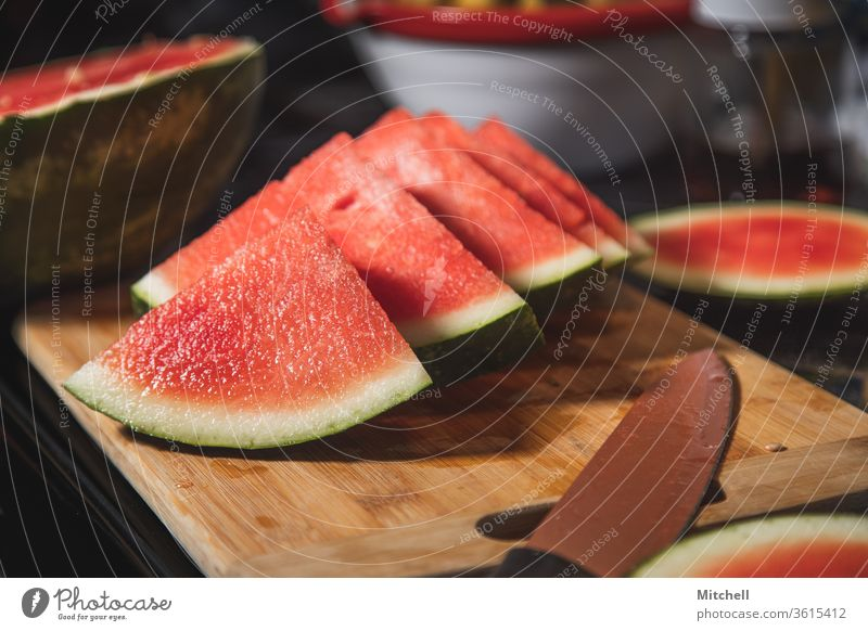 Fresh Watermelon Slices watermelon fruit summer juicy juice cutting board vitamin nutrition healthy food diet eat eating good eats sliced close up natural