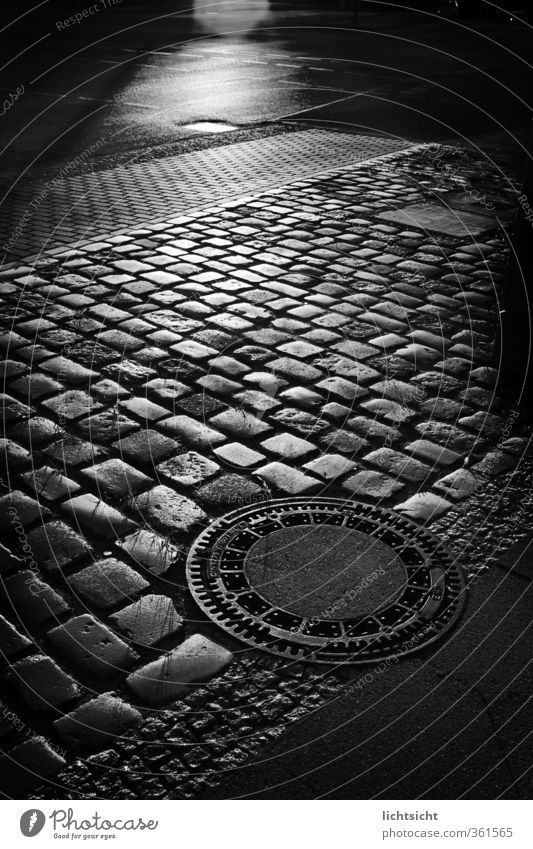 They Walk by Night Town Old town Transport Pedestrian Street Lanes & trails Creepy Black Black & white photo Gully Drainage system Paving stone Floor covering