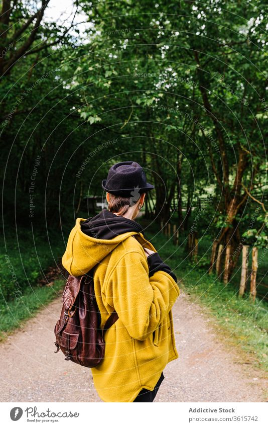 Carefree woman on path in woods forest stand travel pathway backpack green carefree female asturias spain traveler tree nature vacation summer adventure journey