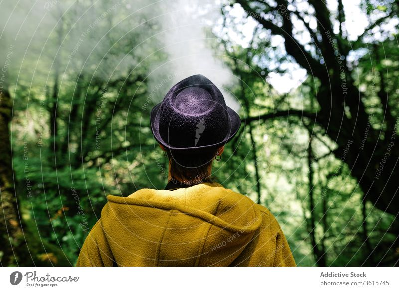 Anonymous woman smoking in green forest smoke travel style informal exhale tree countryside alternative subculture outerwear relax female nature trendy nicotine