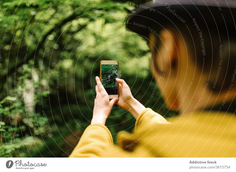 Traveling woman taking photo on smartphone in woods take photo travel forest using nature tourist androgynous female asturias spain holiday greenery lush
