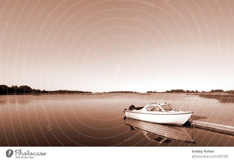 Water Ocean Vacation & Travel Calm Relaxation Watercraft Environment Horizon Footbridge Navigation Sweden North Scandinavia Monochrome