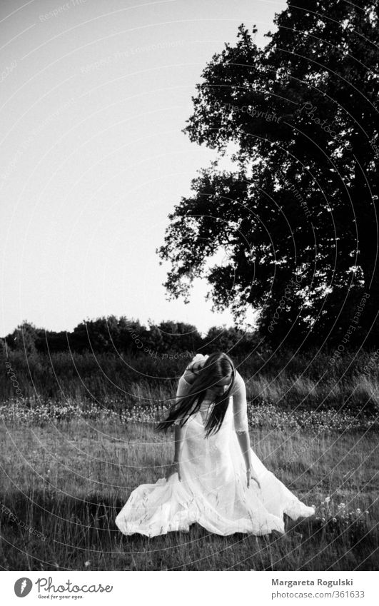 Sky Nature Landscape Forest Meadow Fashion Field Esthetic Wedding Dress Long-haired