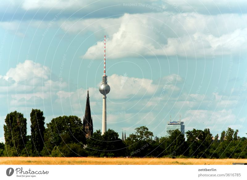 Television tower behind the Tempelhofer Freiheit alex Alexanderplatz tempelhofer freedom tempelhofer field Berlin city Germany Far-off places Trajectory Airport