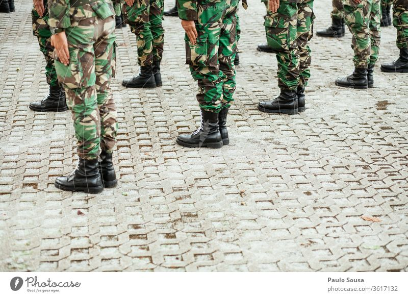 Military graduation Military zone Army Soldier military Uniform Man War Colour photo gun armed Exterior shot carbine army Weapon Portugal background forces
